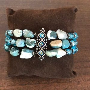 Turquoise, stone, glass and bead bracelet.